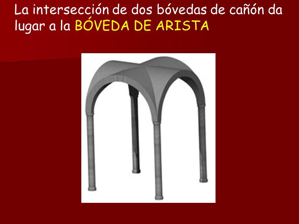 La intersección de dos bóvedas de cañón da lugar a la BÓVEDA DE ARISTA