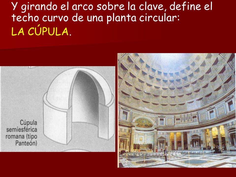 Y girando el arco sobre la clave, define el techo curvo de una planta circular: LA CÚPULA.