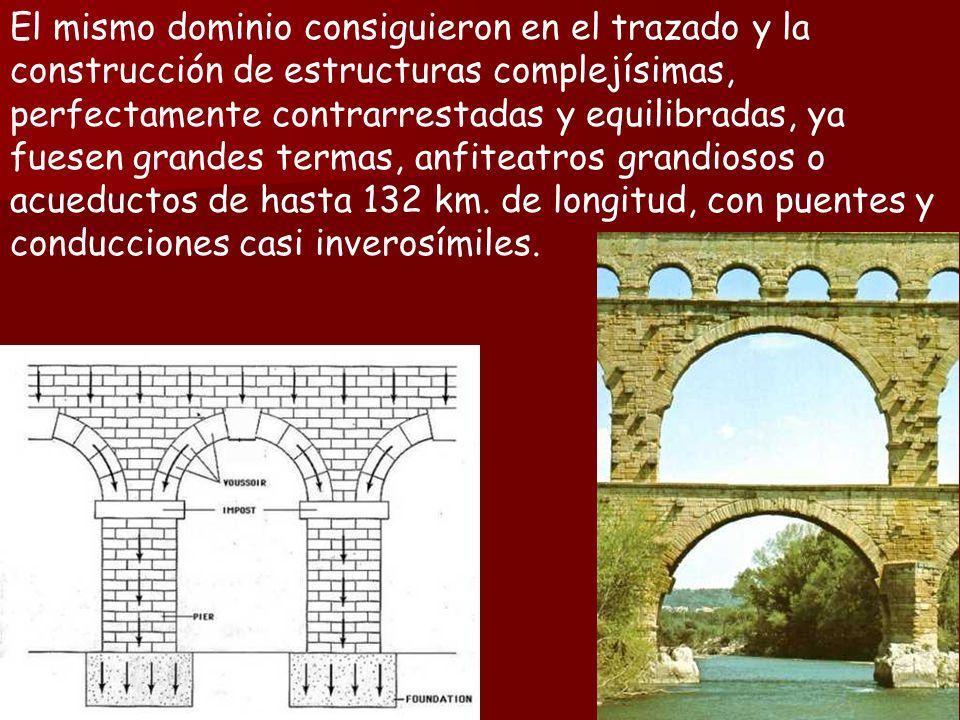 El mismo dominio consiguieron en el trazado y la construcción de estructuras complejísimas, perfectamente contrarrestadas y equilibradas, ya fuesen grandes termas, anfiteatros grandiosos o acueductos de hasta 132 km.