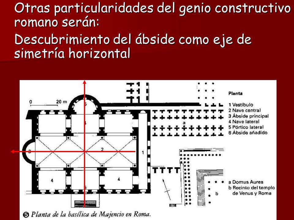 Otras particularidades del genio constructivo romano serán: Descubrimiento del ábside como eje de simetría horizontal