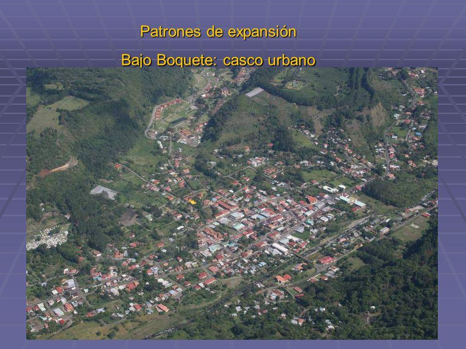 Patrones de expansión Bajo Boquete: casco urbano