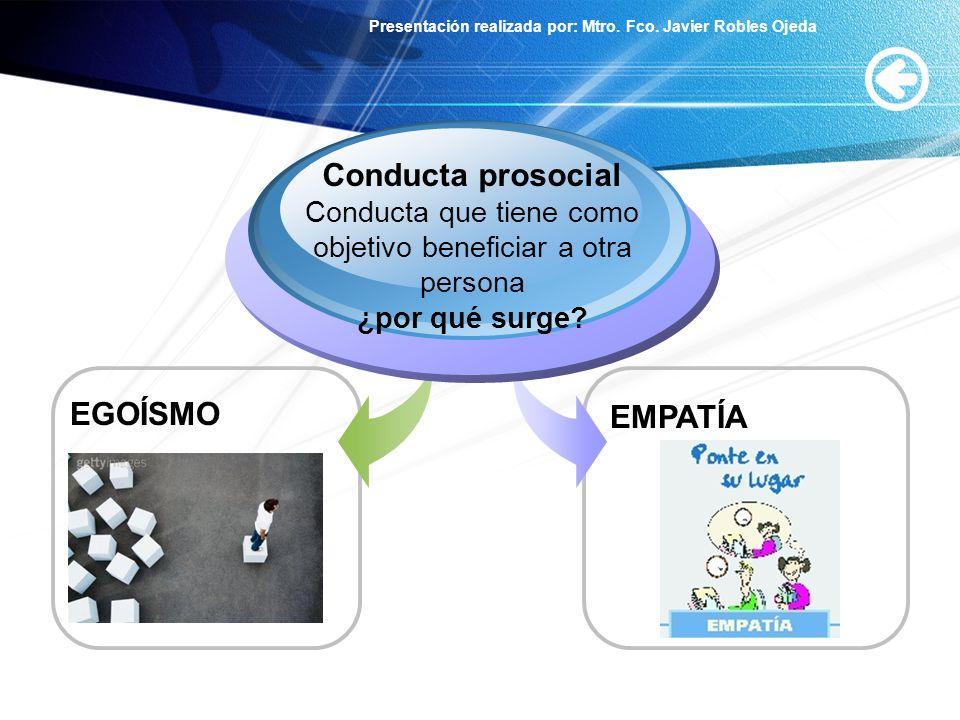 Presentación realizada por: Mtro. Fco. Javier Robles Ojeda EGOÍSMO Conducta prosocial Conducta que tiene como objetivo beneficiar a otra persona ¿por