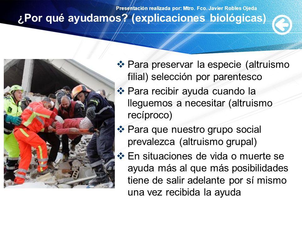 Presentación realizada por: Mtro. Fco. Javier Robles Ojeda ¿Por qué ayudamos? (explicaciones biológicas) Para preservar la especie (altruismo filial)