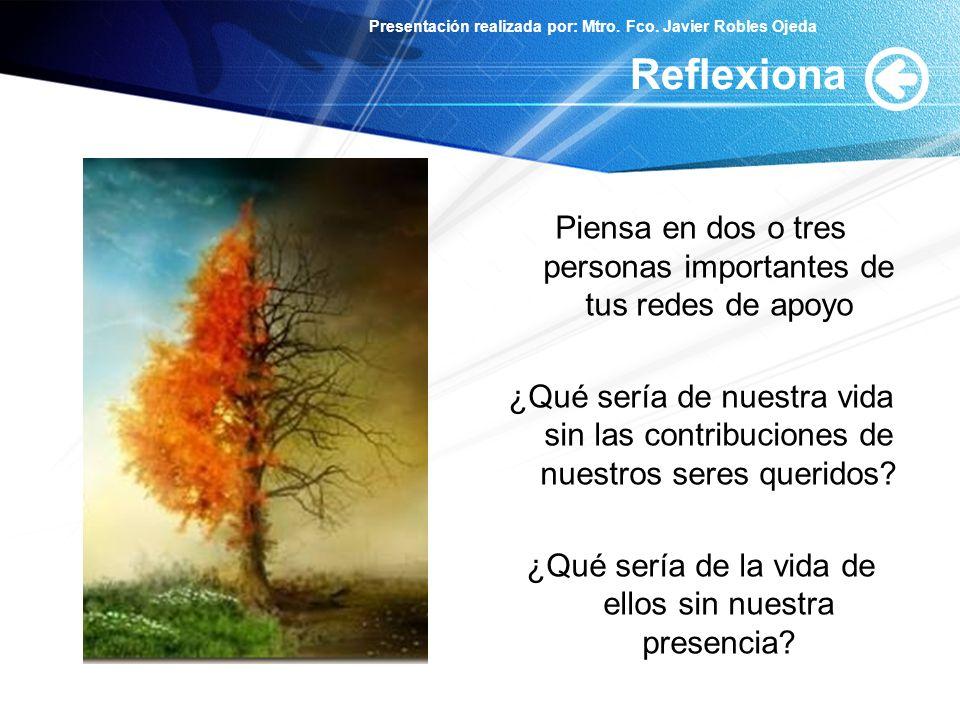 Presentación realizada por: Mtro. Fco. Javier Robles Ojeda Reflexiona Piensa en dos o tres personas importantes de tus redes de apoyo ¿Qué sería de nu