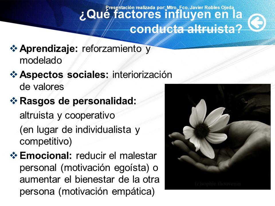 Presentación realizada por: Mtro. Fco. Javier Robles Ojeda ¿Qué factores influyen en la conducta altruista? Aprendizaje: reforzamiento y modelado Aspe