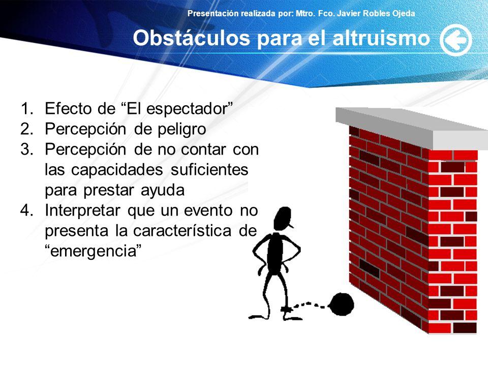 Presentación realizada por: Mtro. Fco. Javier Robles Ojeda Obstáculos para el altruismo 1.Efecto de El espectador 2.Percepción de peligro 3.Percepción