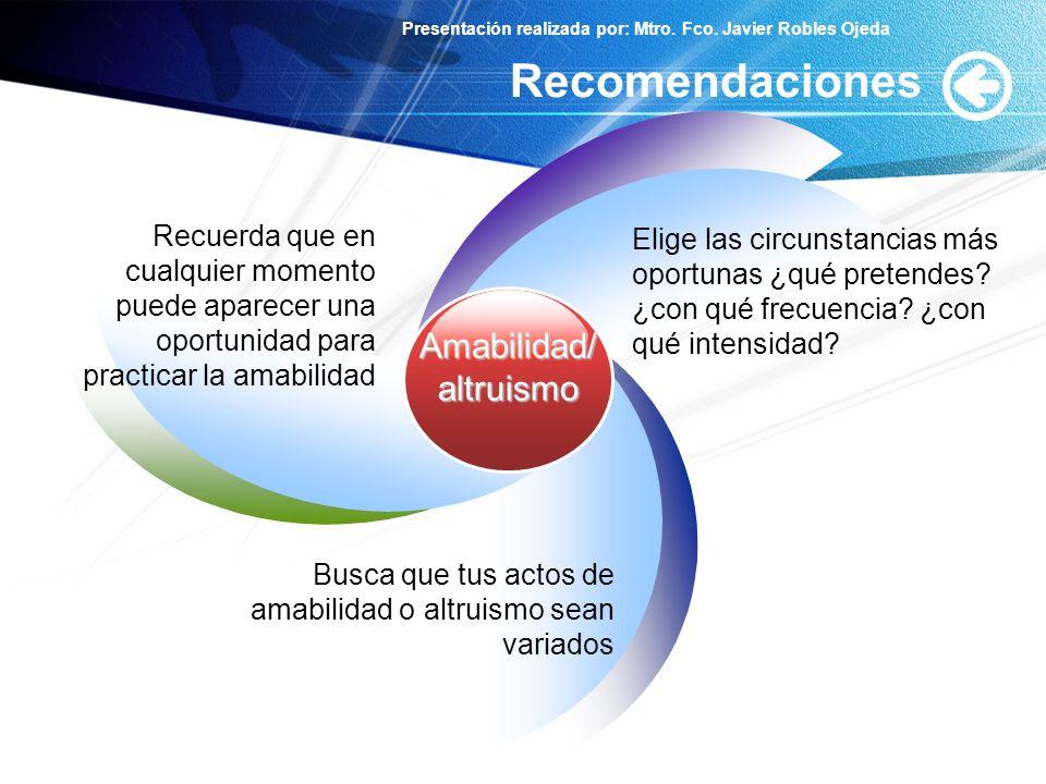 Presentación realizada por: Mtro. Fco. Javier Robles Ojeda Recomendaciones Amabilidad/altruismo Recuerda que en cualquier momento puede aparecer una o