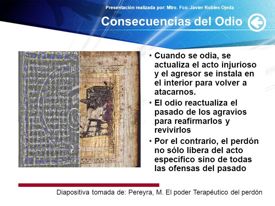 Presentación realizada por: Mtro. Fco. Javier Robles Ojeda Cuando se odia, se actualiza el acto injurioso y el agresor se instala en el interior para