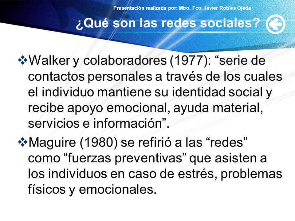 Presentación realizada por: Mtro. Fco. Javier Robles Ojeda ¿Qué son las redes sociales? Walker y colaboradores (1977): serie de contactos personales a