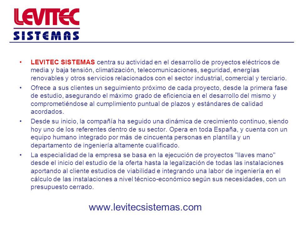 LEVITEC SISTEMAS centra su actividad en el desarrollo de proyectos eléctricos de media y baja tensión, climatización, telecomunicaciones, seguridad, e
