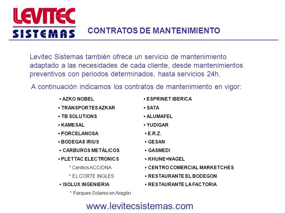 CONTRATOS DE MANTENIMIENTO Levitec Sistemas también ofrece un servicio de mantenimiento adaptado a las necesidades de cada cliente, desde mantenimient