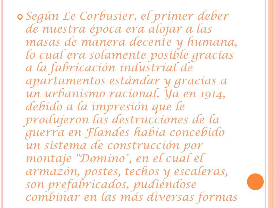 Según Le Corbusier, el primer deber de nuestra época era alojar a las masas de manera decente y humana, lo cual era solamente posible gracias a la fab