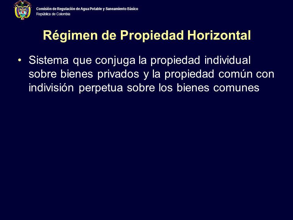 República de Colombia Régimen de Propiedad Horizontal Sistema que conjuga la propiedad individual sobre bienes privados y la propiedad común con indivisión perpetua sobre los bienes comunes