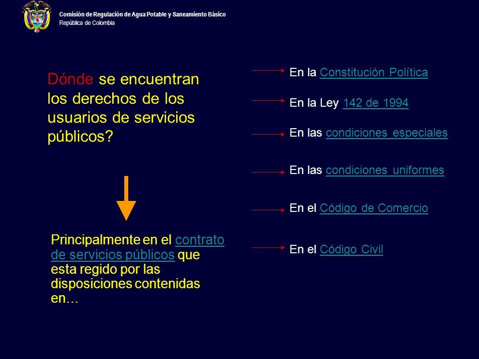 Comisión de Regulación de Agua Potable y Saneamiento Básico República de Colombia El CCU es: –Uniforme, –Consensual y por Adhesión –Las partes son la empresa de servicios públicos y el usuario –Su precio se paga en dinero –Las estipulaciones son definidas por los prestadoresprestadores