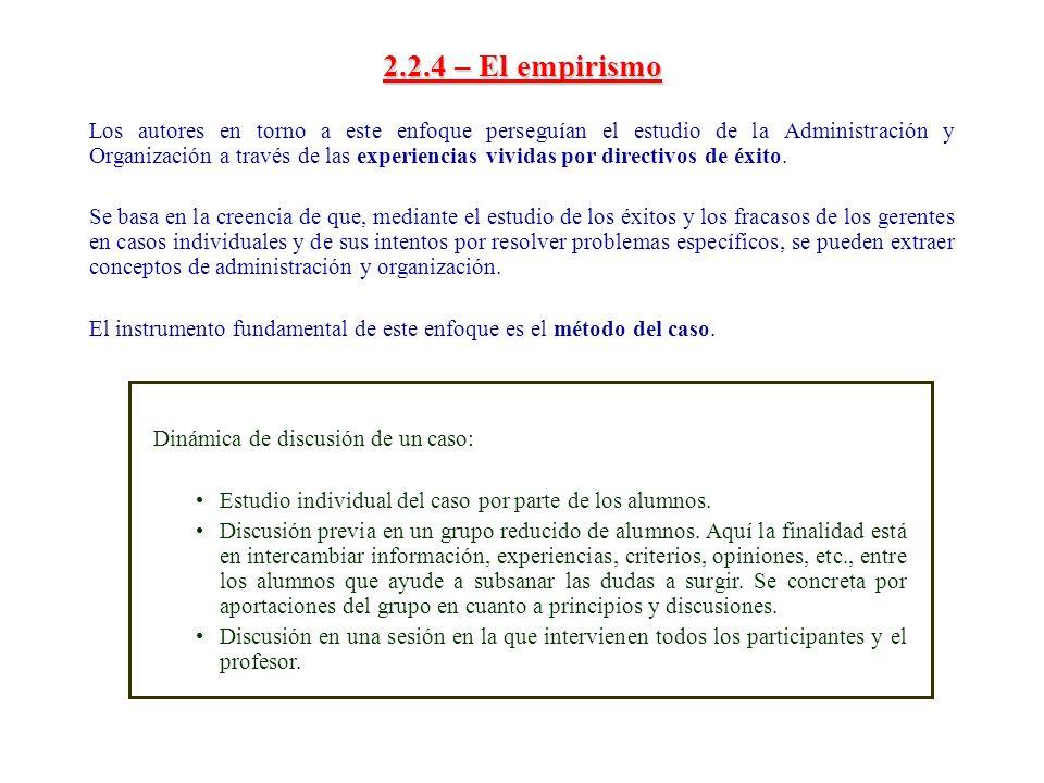 2.2.4 – El empirismo Los autores en torno a este enfoque perseguían el estudio de la Administración y Organización a través de las experiencias vivida