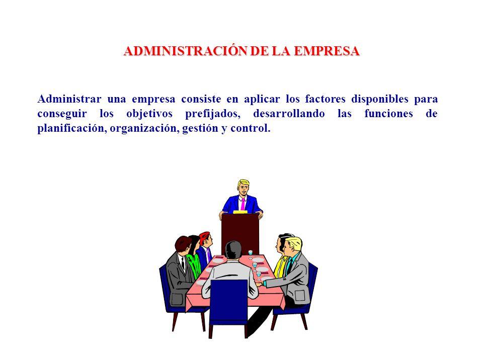 ADMINISTRACIÓN DE LA EMPRESA Administrar una empresa consiste en aplicar los factores disponibles para conseguir los objetivos prefijados, desarrollan