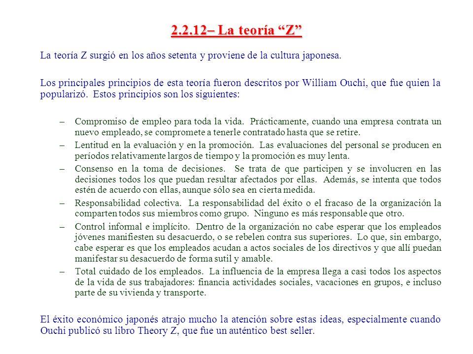 2.2.12– La teoría Z La teoría Z surgió en los años setenta y proviene de la cultura japonesa. Los principales principios de esta teoría fueron descrit