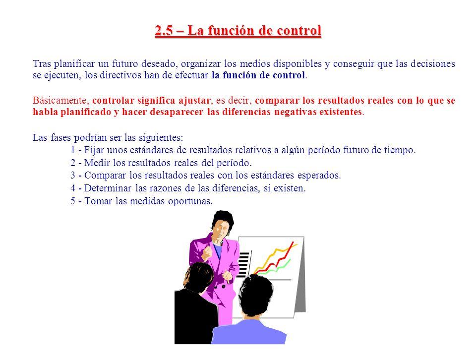 2.5 – La función de control Tras planificar un futuro deseado, organizar los medios disponibles y conseguir que las decisiones se ejecuten, los direct