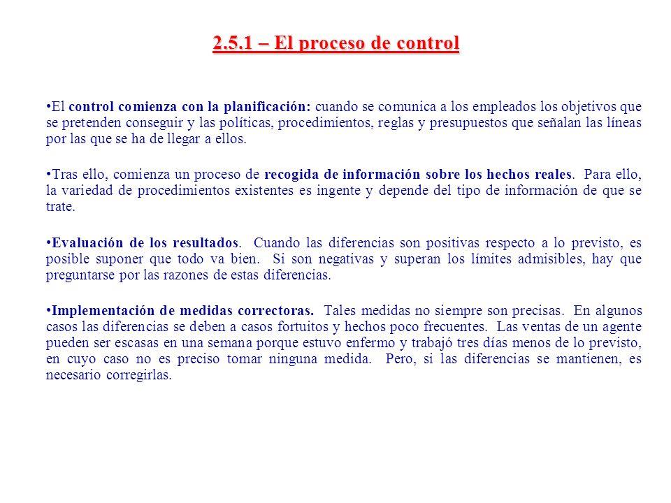 2.5.1 – El proceso de control El control comienza con la planificación: cuando se comunica a los empleados los objetivos que se pretenden conseguir y