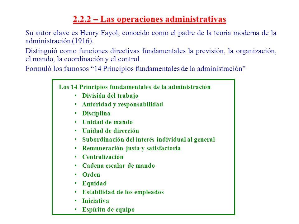 2.2.2 – Las operaciones administrativas Su autor clave es Henry Fayol, conocido como el padre de la teoría moderna de la administración (1916). Distin