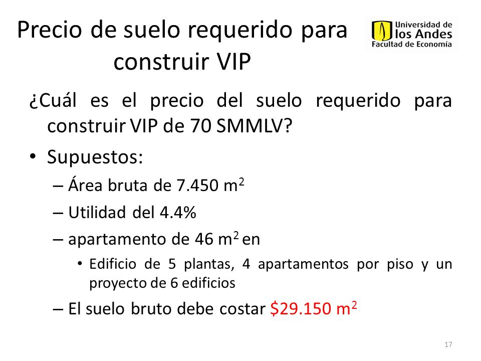 Precio de suelo requerido para construir VIP ¿Cuál es el precio del suelo requerido para construir VIP de 70 SMMLV? Supuestos: – Área bruta de 7.450 m