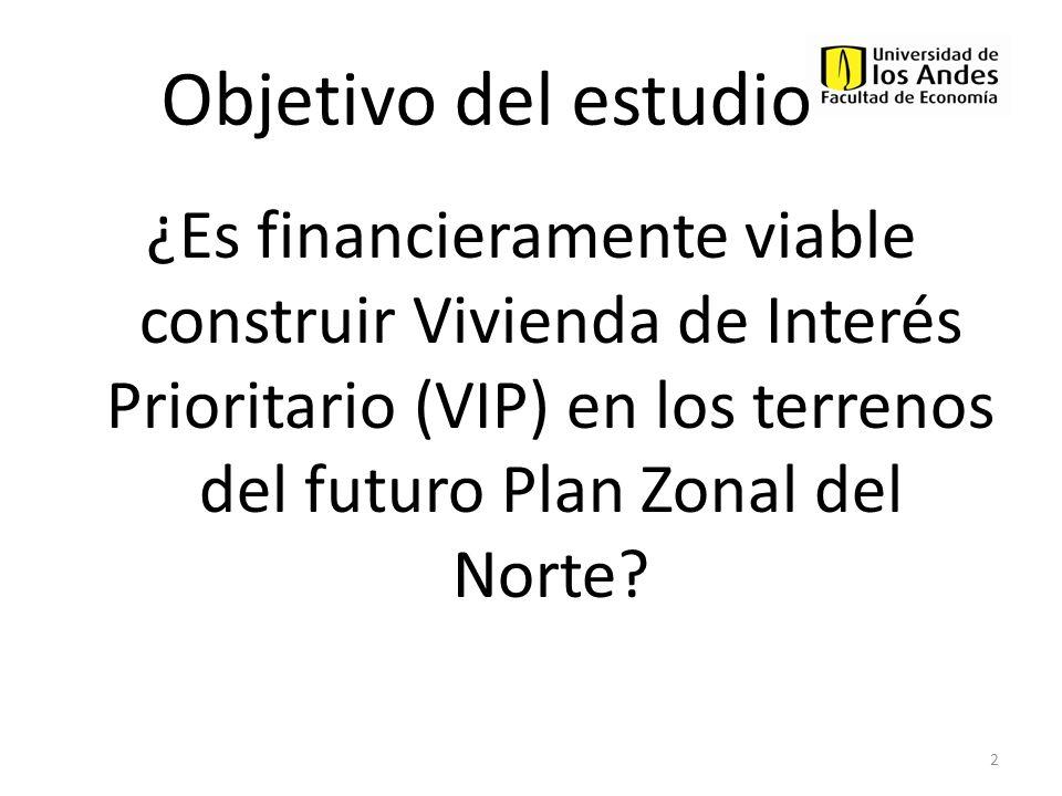 Objetivo del estudio ¿Es financieramente viable construir Vivienda de Interés Prioritario (VIP) en los terrenos del futuro Plan Zonal del Norte? 2