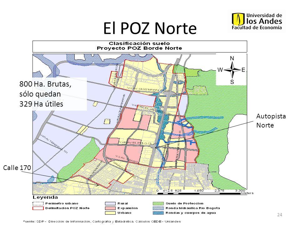El POZ Norte 24 Calle 170 Autopista Norte 800 Ha. Brutas, sólo quedan 329 Ha útiles