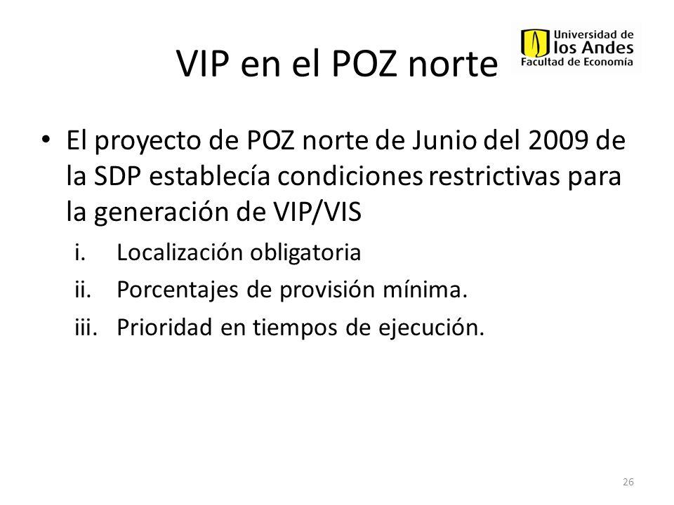 VIP en el POZ norte El proyecto de POZ norte de Junio del 2009 de la SDP establecía condiciones restrictivas para la generación de VIP/VIS i.Localizac