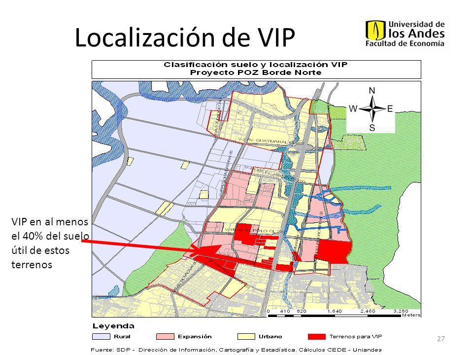 Localización de VIP 27 VIP en al menos el 40% del suelo útil de estos terrenos