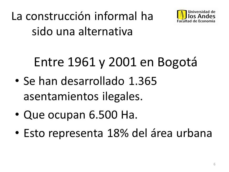 BOGOTA19932005 Stock Viviendas 1 886.9771.762.653 (b) Viviendas construidas 1 875.676 (c) Viviendas iniciadas sector formal 2 376.214 43% Vivienda Informal (b)-(c) 499.462 57% 1 Fuente: Censos 1993, 2005.