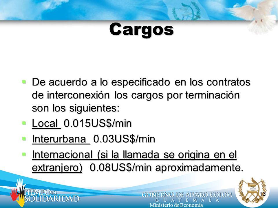 13 Ministerio de Economía Cargos De acuerdo a lo especificado en los contratos de interconexión los cargos por terminación son los siguientes: De acue