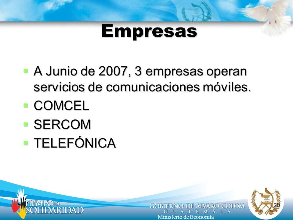 20 Ministerio de Economía Empresas A Junio de 2007, 3 empresas operan servicios de comunicaciones móviles. A Junio de 2007, 3 empresas operan servicio