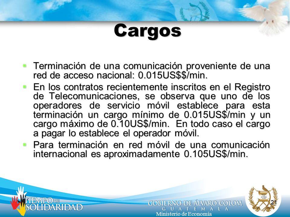 21 Ministerio de Economía Cargos Terminación de una comunicación proveniente de una red de acceso nacional: 0.015US$$/min. Terminación de una comunica