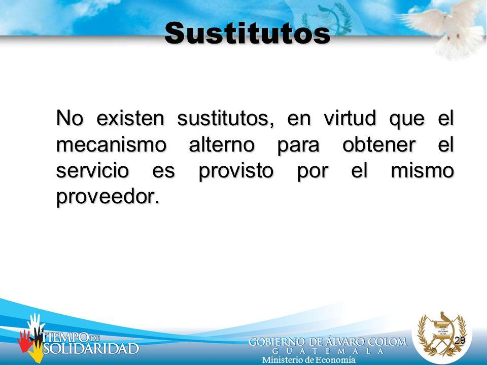 29 Ministerio de Economía Sustitutos No existen sustitutos, en virtud que el mecanismo alterno para obtener el servicio es provisto por el mismo prove