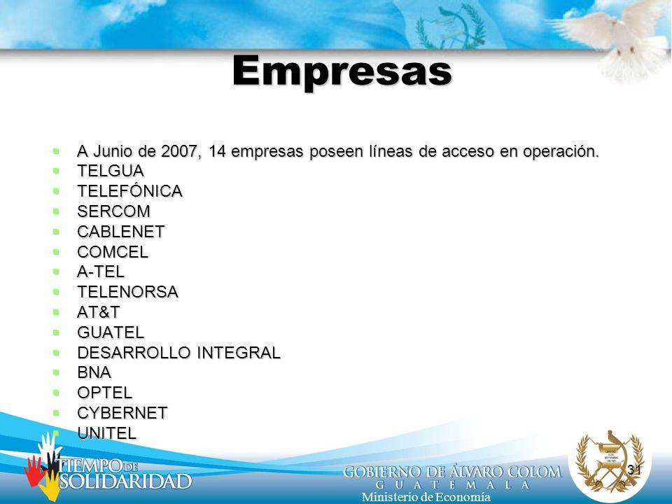 31 Ministerio de Economía Empresas A Junio de 2007, 14 empresas poseen líneas de acceso en operación. A Junio de 2007, 14 empresas poseen líneas de ac