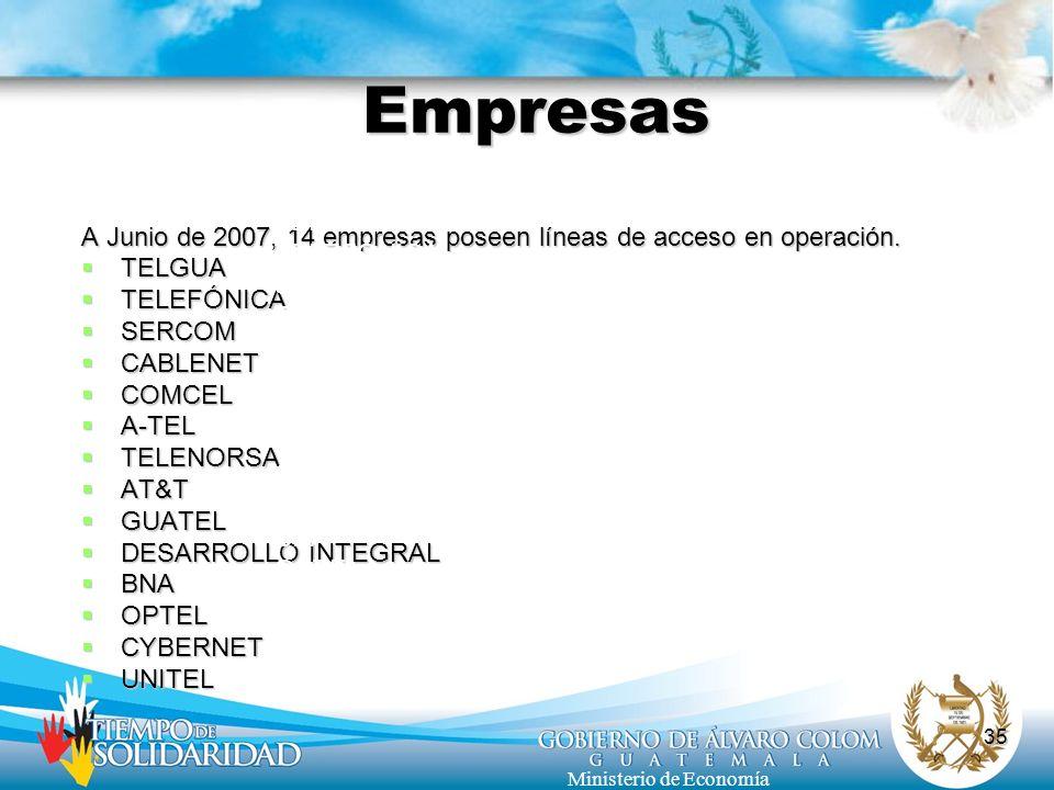 35 Ministerio de Economía Empresas A Junio de 2007, 14 empresas poseen líneas de acceso en operación. TELGUA TELGUA TELEFÓNICA TELEFÓNICA SERCOM SERCO