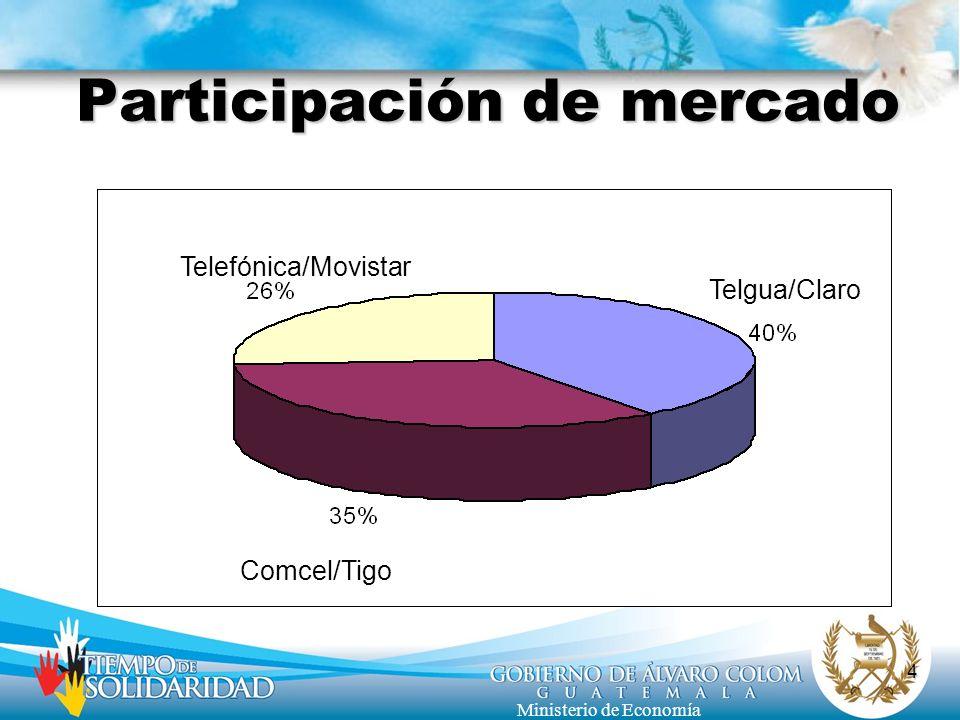 4 Ministerio de Economía Participación de mercado Comcel/Tigo Telgua/Claro Telefónica/Movistar