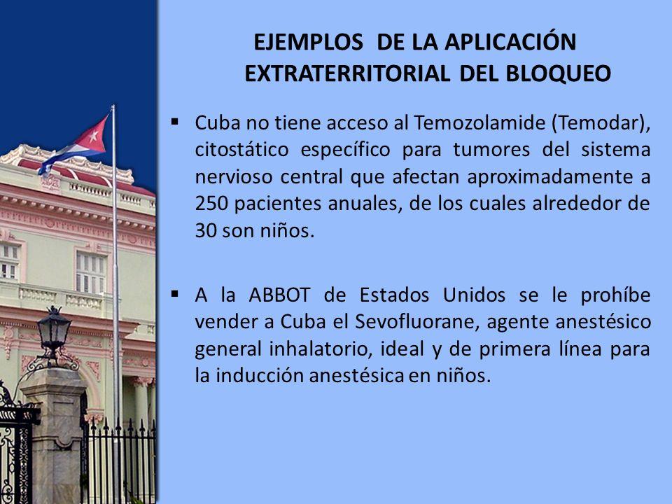 Cuba no tiene acceso al Temozolamide (Temodar), citostático específico para tumores del sistema nervioso central que afectan aproximadamente a 250 pacientes anuales, de los cuales alrededor de 30 son niños.