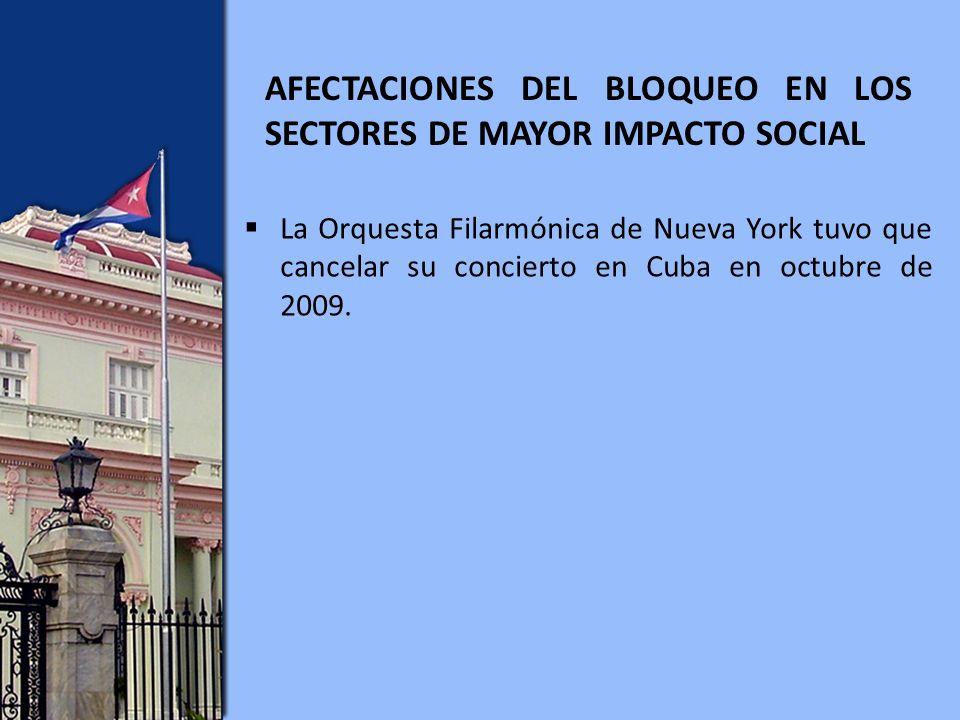 La Orquesta Filarmónica de Nueva York tuvo que cancelar su concierto en Cuba en octubre de 2009.