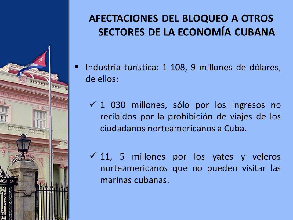 AFECTACIONES DEL BLOQUEO A OTROS SECTORES DE LA ECONOMÍA CUBANA Industria turística: 1 108, 9 millones de dólares, de ellos: 1 030 millones, sólo por los ingresos no recibidos por la prohibición de viajes de los ciudadanos norteamericanos a Cuba.