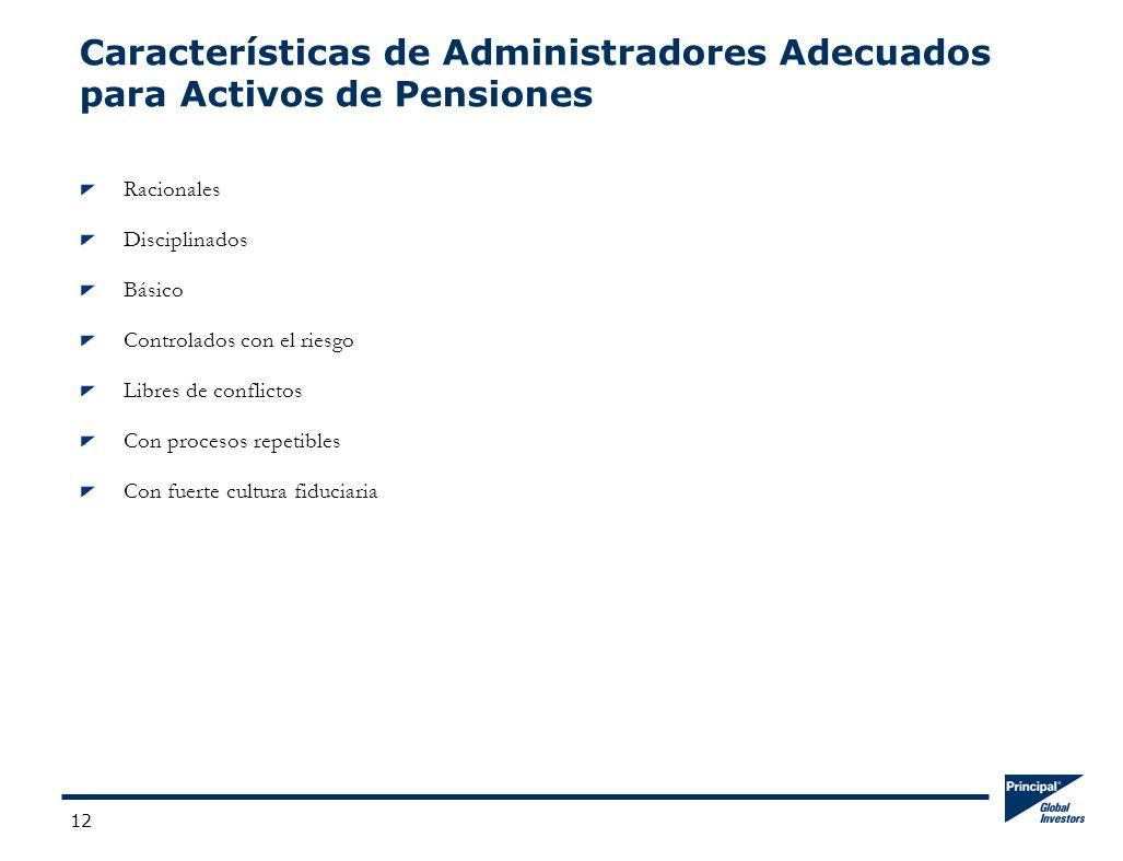 12 Características de Administradores Adecuados para Activos de Pensiones Racionales Disciplinados Básico Controlados con el riesgo Libres de conflictos Con procesos repetibles Con fuerte cultura fiduciaria