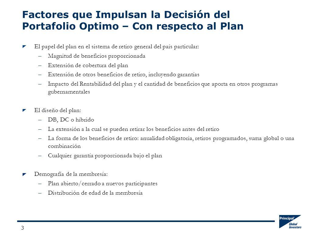3 Factores que Impulsan la Decisión del Portafolio Optimo – Con respecto al Plan El papel del plan en el sistema de retiro general del país particular