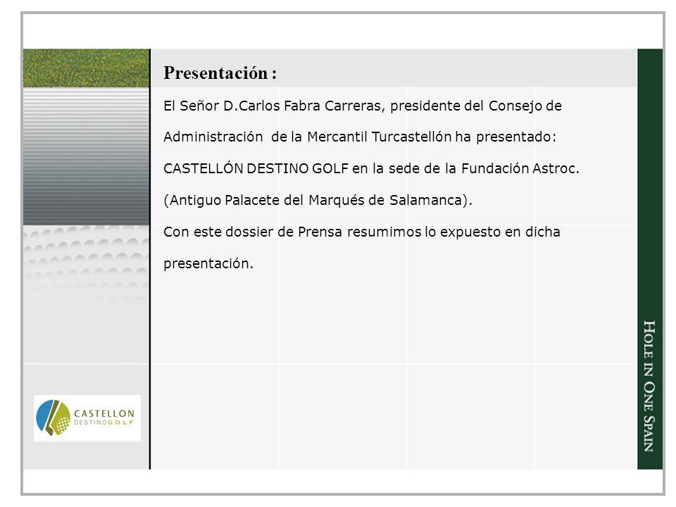 Presentación : El Señor D.Carlos Fabra Carreras, presidente del Consejo de Administración de la Mercantil Turcastellón ha presentado: CASTELLÓN DESTINO GOLF en la sede de la Fundación Astroc.