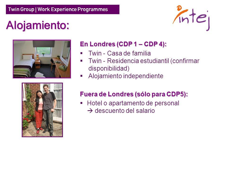 En Londres (CDP 1 – CDP 4): Twin - Casa de familia Twin - Residencia estudiantil (confirmar disponibilidad) Alojamiento independiente Fuera de Londres