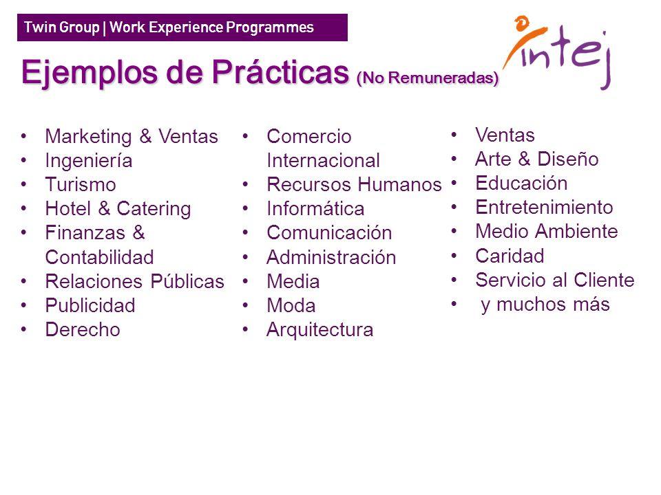 Marketing & Ventas Ingeniería Turismo Hotel & Catering Finanzas & Contabilidad Relaciones Públicas Publicidad Derecho Ejemplos de Prácticas (No Remune