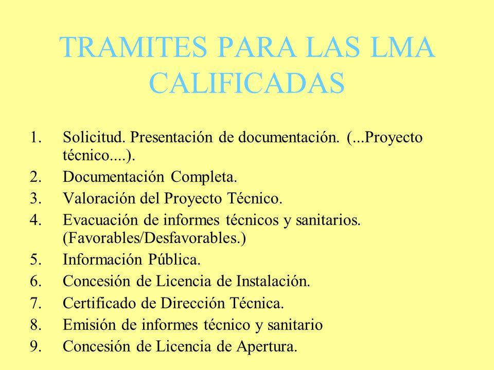 Trámites para las LMA INOCUAS. 1. ENTREGA DE LA SOLICITUD. 2. PRESENTACIÓN DE DOCUMENTACIÓN COMPLETA. DOCUMENTACIÓN SANITARIA 3. CERTIFICADO TIPO B VI