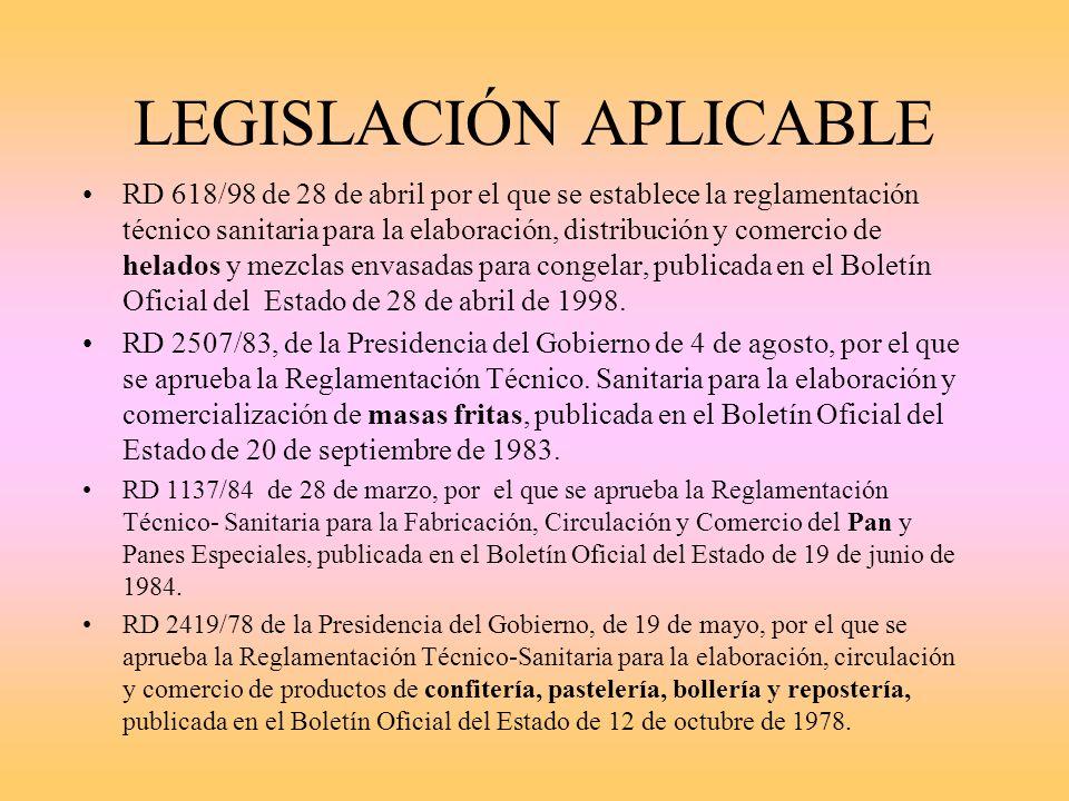 LEGISLACION APLICABLE Reglamento 852/2004 del Parlamento Europeo y del Consejo de 29 de Abril de 2004 relativo a la higiene de los productos alimentic