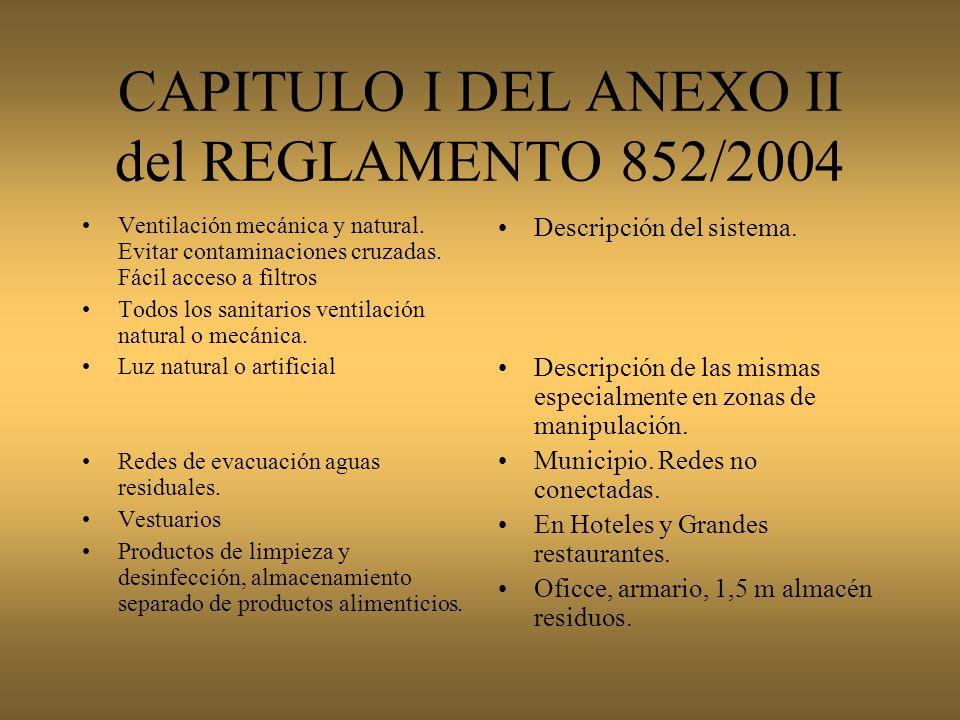 REQUISITOS GENERALES CAPITULO I DEL ANEXO II del REGLAMENTO 852/2004 Permitirán una limpieza y desinfección adecuada Evitarán acumulación de suciedad,