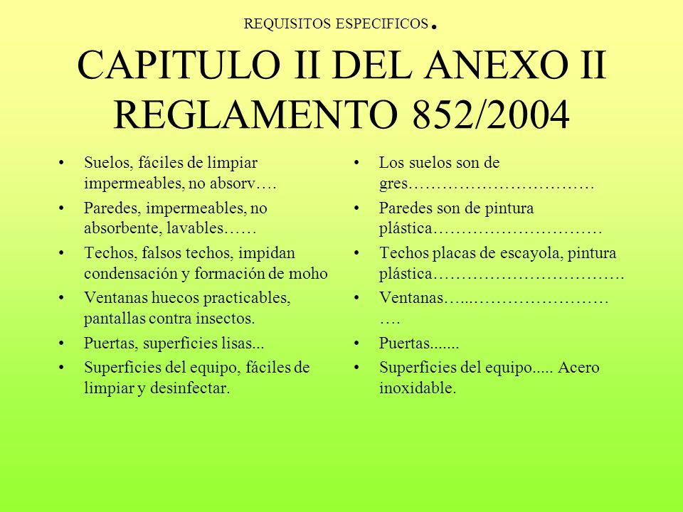 CAPITULO I DEL ANEXO II del REGLAMENTO 852/2004 Ventilación mecánica y natural. Evitar contaminaciones cruzadas. Fácil acceso a filtros Todos los sani