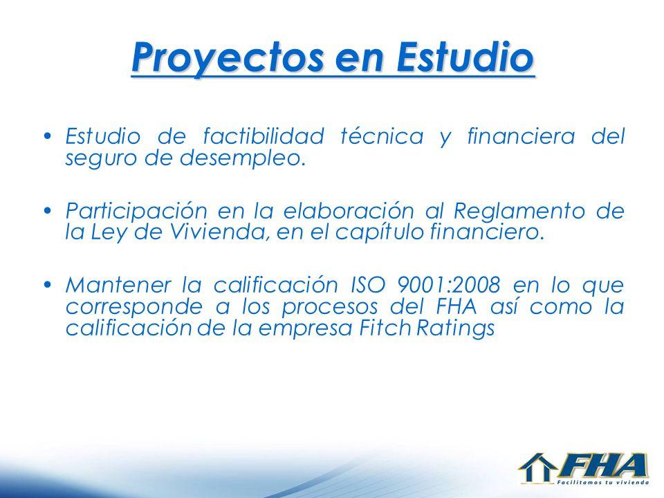 Proyectos en Estudio Estudio de factibilidad técnica y financiera del seguro de desempleo. Participación en la elaboración al Reglamento de la Ley de